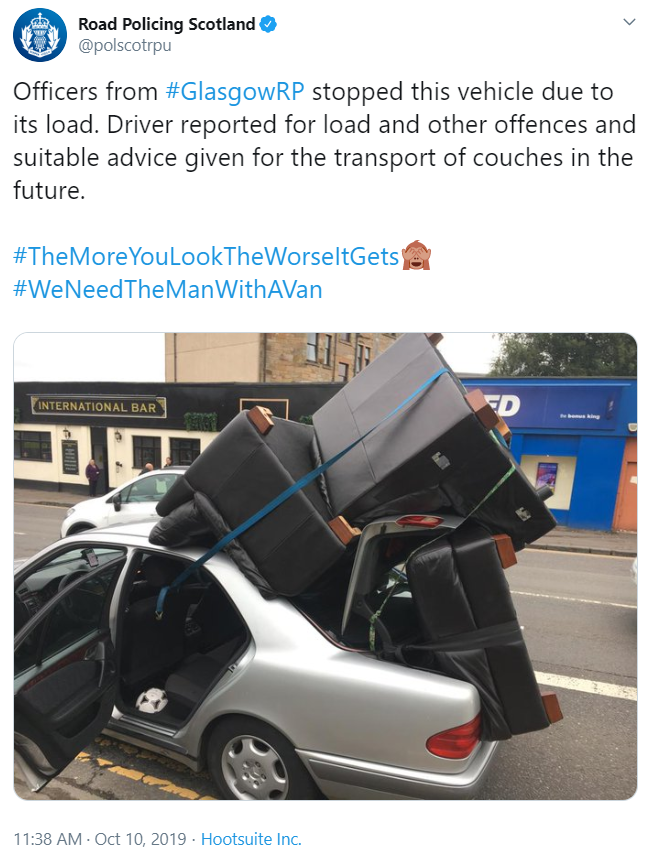 Farcical Scottish Justice System Prosecute Glasgow Man For Driving With Sofas On His Car